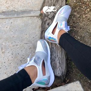 White and Silver Holographic Cut Out Sneakers